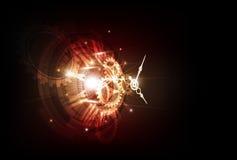 Αφηρημένο φουτουριστικό υπόβαθρο τεχνολογίας με τη μηχανή έννοιας και χρόνου ρολογιών, διάνυσμα Στοκ Εικόνες