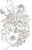 Αφηρημένο φτερό λουλουδιών με την παπαρούνα και calla στο ύφος zentangle διανυσματική απεικόνιση