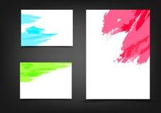 Αφηρημένο φυλλάδιο μελανιού παφλασμών υποβάθρου κάλυψης Watercolor, διανυσματική απεικόνιση σχεδιαγράμματος εμβλημάτων A4 ιπτάμεν απεικόνιση αποθεμάτων