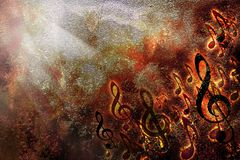 Αφηρημένο φύλλων grunge μουσικής πλαίσιο υποβάθρου σύστασης πυρκαγιάς καίγοντας ελεύθερη απεικόνιση δικαιώματος
