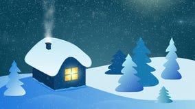 Αφηρημένο χειμερινό τοπίο - σπίτι με την καπνίζοντας καπνοδόχο απόθεμα βίντεο