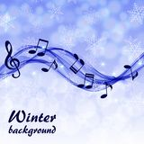 Αφηρημένο χειμερινό υπόβαθρο με τις σημειώσεις μουσικής και ένα τριπλό clef ελεύθερη απεικόνιση δικαιώματος