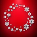 Αφηρημένο χειμερινό υπόβαθρο με snowflakes εγγράφου στο κόκκινο υπόβαθρο 10 eps διανυσματική απεικόνιση