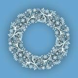 Αφηρημένο χειμερινό snowflake διανυσματικό πρότυπο πλαισίων Ελεύθερη απεικόνιση δικαιώματος