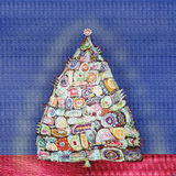 Αφηρημένο χριστουγεννιάτικο δέντρο ζωγραφικής με τους εθνικούς συνυπολογισμούς Στοκ Φωτογραφία