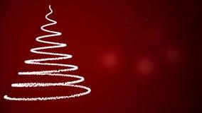 Αφηρημένο χριστουγεννιάτικο δέντρο που εμφανίζεται στη σπειροειδή άσπρη γραμμή στο κόκκινο υπόβαθρο με μειωμένα snowflakes και τα ελεύθερη απεικόνιση δικαιώματος