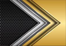 Αφηρημένο χρυσό ασημένιο βέλος στο σκούρο γκρι κύκλων πλέγματος διάνυσμα υποβάθρου σχεδίου σύγχρονο φουτουριστικό διανυσματική απεικόνιση