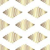 Αφηρημένο χρυσό συρμένο χέρι σχέδιο άνευ ραφής διάνυσμα ανασκό Στοκ Φωτογραφία