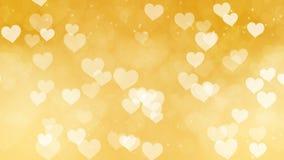 Αφηρημένο χρυσό υπόβαθρο Bokeh καρδιών ελεύθερη απεικόνιση δικαιώματος