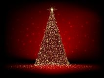 Αφηρημένο χρυσό χριστουγεννιάτικο δέντρο στο κόκκινο. EPS 10 Στοκ εικόνα με δικαίωμα ελεύθερης χρήσης