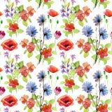 Αφηρημένο χρωματισμένο χέρι υπόβαθρο watercolor με τα λουλούδια Στοκ εικόνες με δικαίωμα ελεύθερης χρήσης