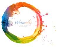 Αφηρημένο χρωματισμένο watercolor υπόβαθρο κύκλων Στοκ Εικόνες