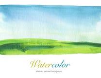 Αφηρημένο χρωματισμένο watercolor υπόβαθρο τοπίων κατασκευασμένος Στοκ Φωτογραφία