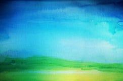 Αφηρημένο χρωματισμένο watercolor υπόβαθρο τοπίων κατασκευασμένος στοκ εικόνα με δικαίωμα ελεύθερης χρήσης