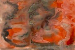 Αφηρημένο χρώμα watercolor του κόκκινου και μαύρου χρώματος Θαμπάδα σε χαρτί στοκ φωτογραφία με δικαίωμα ελεύθερης χρήσης