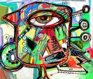 Αφηρημένο ψηφιακό έργο τέχνης ζωγραφικής του πουλιού doodle Στοκ φωτογραφία με δικαίωμα ελεύθερης χρήσης