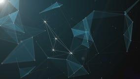 Αφηρημένο όμορφο γεωμετρικό υπόβαθρο με την κίνηση των γραμμών, των σημείων και των τριγώνων Αφηρημένη τεχνολογία φαντασίας πλεγμ φιλμ μικρού μήκους