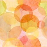 Αφηρημένο όμορφο καλλιτεχνικό τρυφερό θαυμάσιο διαφανές φωτεινό φθινοπώρου πορτοκαλί κίτρινο κόκκινο watercol σχεδίων μορφών κύκλ Στοκ Εικόνα