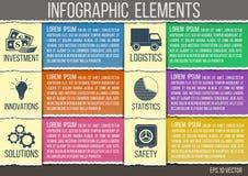 Αφηρημένο ύφος εγγράφου infographics σχισμένο πρότυπο με τα ενσωματωμένα εικονίδια για την ανάπτυξη, ικανότητα, ασφάλεια, οικολογ Στοκ Φωτογραφία