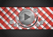 Αφηρημένο App τεχνολογίας εικονίδιο με το κουμπί μουσικής Στοκ Εικόνα