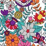 Αφηρημένο floral υπόβαθρο, άνευ ραφής σχέδιο θερινού θέματος, vecto Στοκ Φωτογραφίες