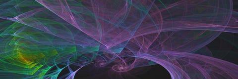Αφηρημένο fractal, πολύχρωμες γραμμές και στρογγυλό υπόβαθρο εμβλημάτων Απεικόνιση αποθεμάτων