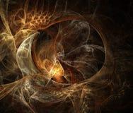 Αφηρημένο fractal goldfish στο μαύρο υπόβαθρο Στοκ Εικόνες