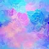 Αφηρημένο hand-drawn σχέδιο ράστερ χρώματος με τα κύματα και τα σύννεφα ι Στοκ Φωτογραφία