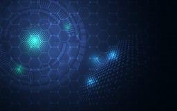 Αφηρημένο hexagon μοριακό δομών σχεδίου υπόβαθρο έννοιας καινοτομίας τεχνολογίας επιστημονικό διανυσματική απεικόνιση