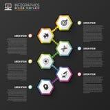 Αφηρημένο hexagon πρότυπο infographics ή υπόδειξης ως προς το χρόνο επίσης corel σύρετε το διάνυσμα απεικόνισης Στοκ εικόνα με δικαίωμα ελεύθερης χρήσης