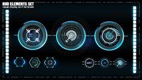 Αφηρημένο HUD Φουτουριστικό σύνολο ενδιάμεσων με τον χρήστη του Sci Fi σύγχρονο Στοκ Εικόνα