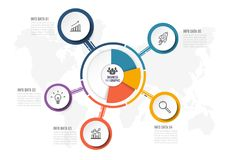 Αφηρημένο infographics πέντε πρότυπο επιλογών επίσης corel σύρετε το διάνυσμα απεικόνισης μπορέστε να χρησιμοποιηθείτε για το σχε Στοκ Εικόνα