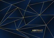 Αφηρημένο polygonal ύφος πολυτέλειας σχεδίων στο μπλε υπόβαθρο με τις χρυσές γραμμές ελεύθερη απεικόνιση δικαιώματος
