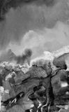 αφηρημένο watercolor ανασκόπησης Μαύρο σκηνικό σύστασης επίδρασης grunge Στοκ εικόνα με δικαίωμα ελεύθερης χρήσης