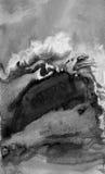 αφηρημένο watercolor ανασκόπησης Μαύρο σκηνικό σύστασης επίδρασης grunge Στοκ Εικόνα