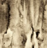 Αφηρημένο watercolor στη σύσταση εγγράφου ως υπόβαθρο Στη σέπια που τονίζεται r στοκ φωτογραφίες
