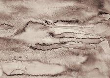 Αφηρημένο watercolor στη σύσταση εγγράφου ως υπόβαθρο Στον τόνο σεπιών Στοκ Φωτογραφία