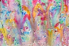 Αφηρημένο watercolor όλα τα χρώματα της ζωγραφικής υποβάθρου ουράνιων τόξων με τον ψεκασμό, σημεία, παφλασμοί Χέρι που επισύρεται Στοκ Φωτογραφίες