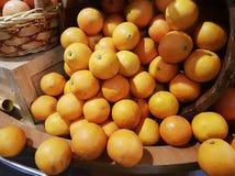 Αφθονία πορτοκαλιών που επιδεικνύεται ροή από έναν κάδο στην πώληση Στοκ εικόνες με δικαίωμα ελεύθερης χρήσης