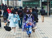 Αφιερωμένος ιαπωνικός ανεμιστήρας που φορά τη UTA ` κανένα εμπόρευμα του πρίγκηπας-Sama ` Στοκ Φωτογραφίες