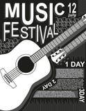 Αφισών μουσικής φεστιβάλ βράχου κιθάρων μαύρα άσπρα διανυσματικά απεικόνισης μουσικής επίπεδα des καρτών ζωνών μουσικής της Jazz  διανυσματική απεικόνιση
