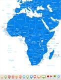 Αφρική - εικονίδια χαρτών και ναυσιπλοΐας - απεικόνιση Στοκ φωτογραφία με δικαίωμα ελεύθερης χρήσης