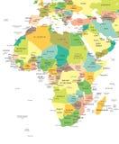 Αφρική - χάρτης - απεικόνιση Στοκ Φωτογραφίες