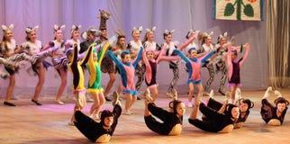 Αφρικανικά ζώα ιστορίας χορού παιδιών Στοκ Φωτογραφία