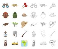 Αφρικανικά κινούμενα σχέδια σαφάρι, εικονίδια περιλήψεων στην καθορισμένη συλλογή για το σχέδιο Τρόπαια και εξοπλισμός για το δια απεικόνιση αποθεμάτων