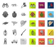 Αφρικανικά μονο, επίπεδα εικονίδια σαφάρι στην καθορισμένη συλλογή για το σχέδιο Τρόπαια και εξοπλισμός για το διανυσματικό Ιστό  απεικόνιση αποθεμάτων