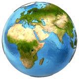 Αφρικανικές και ευρωπαϊκές ήπειροι στη γη Στοκ φωτογραφία με δικαίωμα ελεύθερης χρήσης