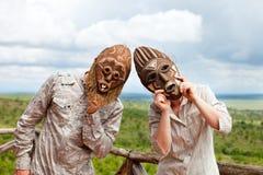 αφρικανικές μάσκες ζευ&gamm Στοκ Φωτογραφία
