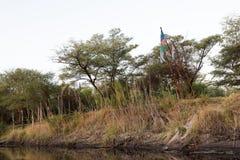 Αφρικανικές σημαίες πέρα από Kwando Στοκ Εικόνα