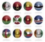 Αφρικανικές σφαίρες σημαιών χωρών (από το Α στο Γ) Στοκ φωτογραφία με δικαίωμα ελεύθερης χρήσης